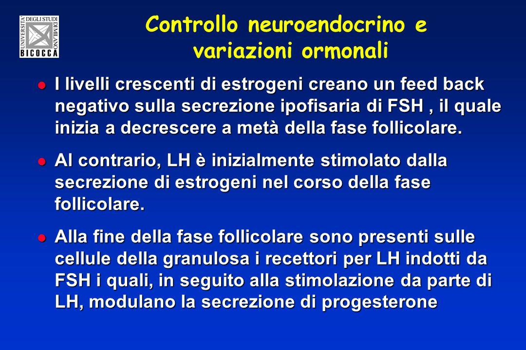 Controllo neuroendocrino e variazioni ormonali I livelli crescenti di estrogeni creano un feed back negativo sulla secrezione ipofisaria di FSH, il quale inizia a decrescere a metà della fase follicolare.