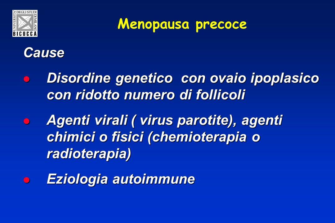 Menopausa precoce Cause Disordine genetico con ovaio ipoplasico con ridotto numero di follicoli Disordine genetico con ovaio ipoplasico con ridotto numero di follicoli Agenti virali ( virus parotite), agenti chimici o fisici (chemioterapia o radioterapia) Agenti virali ( virus parotite), agenti chimici o fisici (chemioterapia o radioterapia) Eziologia autoimmune Eziologia autoimmune