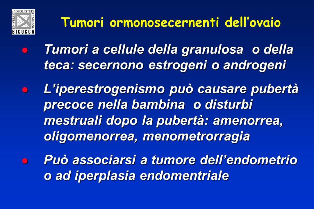 Tumori ormonosecernenti dellovaio Tumori a cellule della granulosa o della teca: secernono estrogeni o androgeni Tumori a cellule della granulosa o della teca: secernono estrogeni o androgeni Liperestrogenismo può causare pubertà precoce nella bambina o disturbi mestruali dopo la pubertà: amenorrea, oligomenorrea, menometrorragia Liperestrogenismo può causare pubertà precoce nella bambina o disturbi mestruali dopo la pubertà: amenorrea, oligomenorrea, menometrorragia Può associarsi a tumore dellendometrio o ad iperplasia endomentriale Può associarsi a tumore dellendometrio o ad iperplasia endomentriale