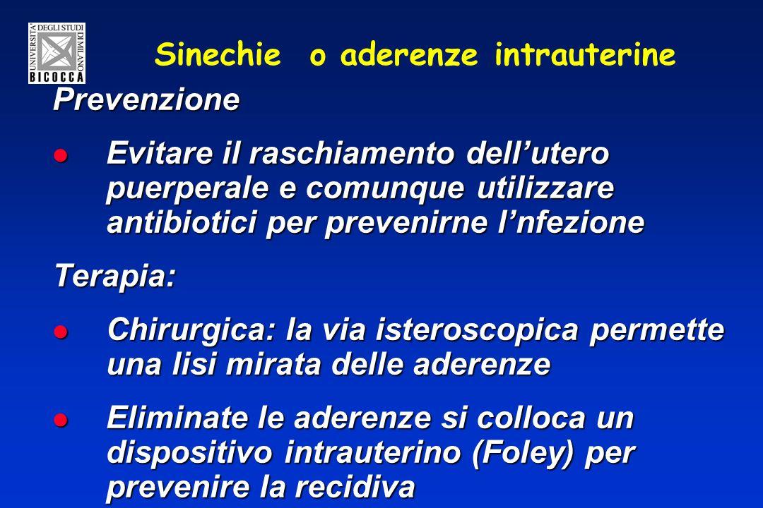 Sinechie o aderenze intrauterine Prevenzione Evitare il raschiamento dellutero puerperale e comunque utilizzare antibiotici per prevenirne lnfezione E