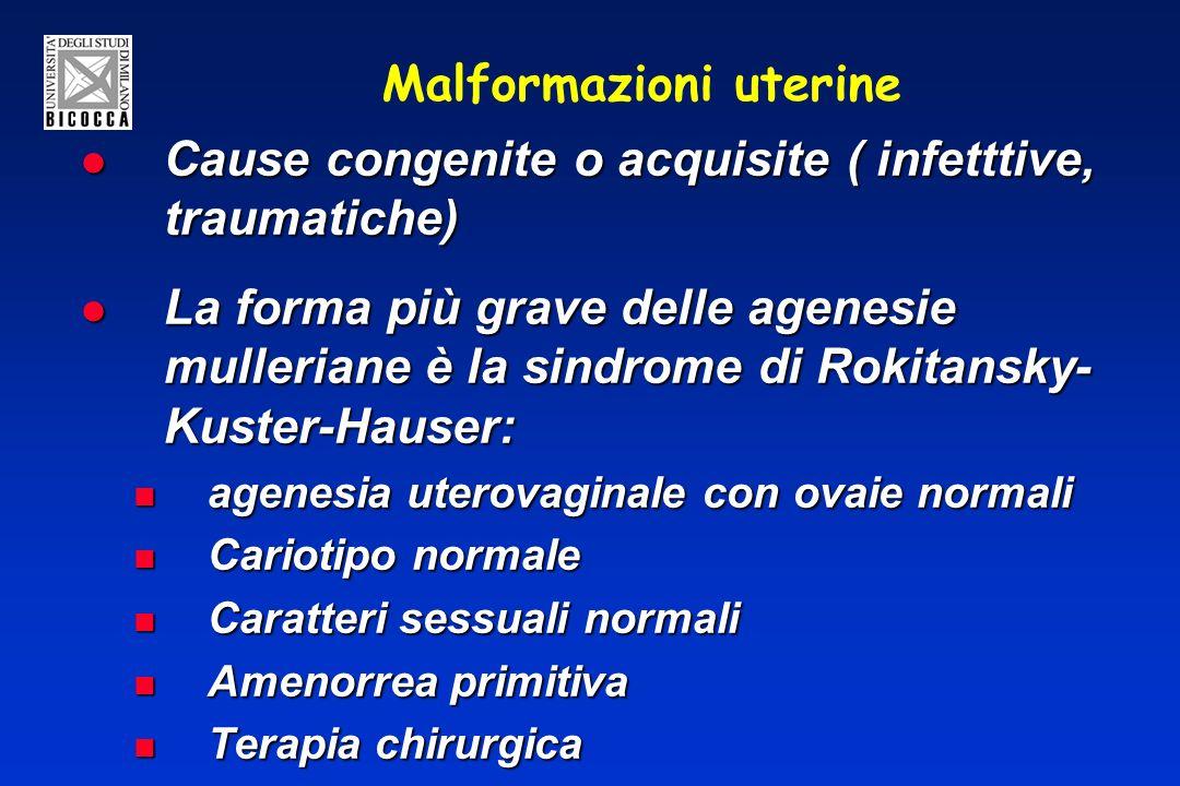 Malformazioni uterine Cause congenite o acquisite ( infetttive, traumatiche) Cause congenite o acquisite ( infetttive, traumatiche) La forma più grave
