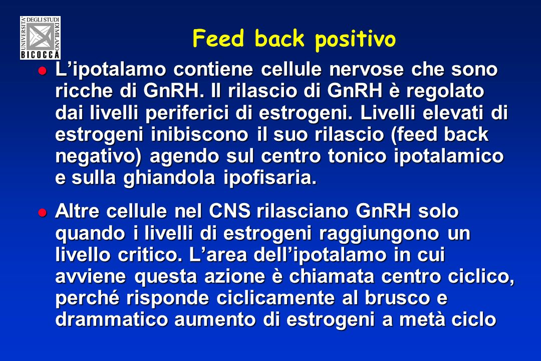 Feed back positivo Lipotalamo contiene cellule nervose che sono ricche di GnRH. Il rilascio di GnRH è regolato dai livelli periferici di estrogeni. Li