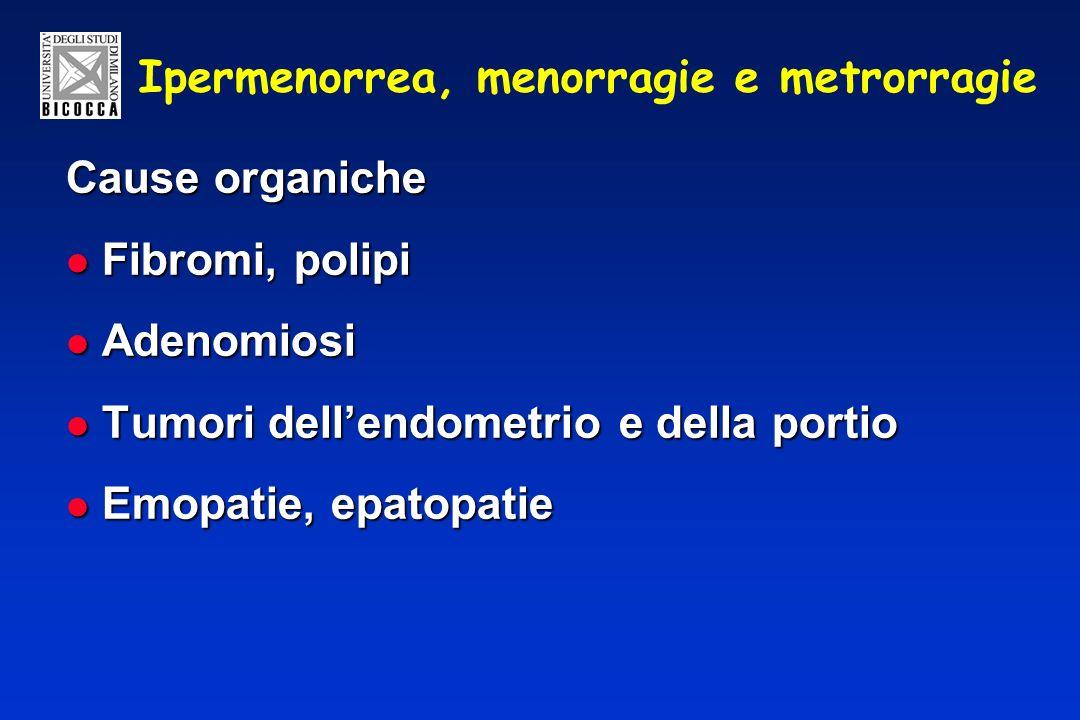 Ipermenorrea, menorragie e metrorragie Cause organiche Fibromi, polipi Fibromi, polipi Adenomiosi Adenomiosi Tumori dellendometrio e della portio Tumori dellendometrio e della portio Emopatie, epatopatie Emopatie, epatopatie