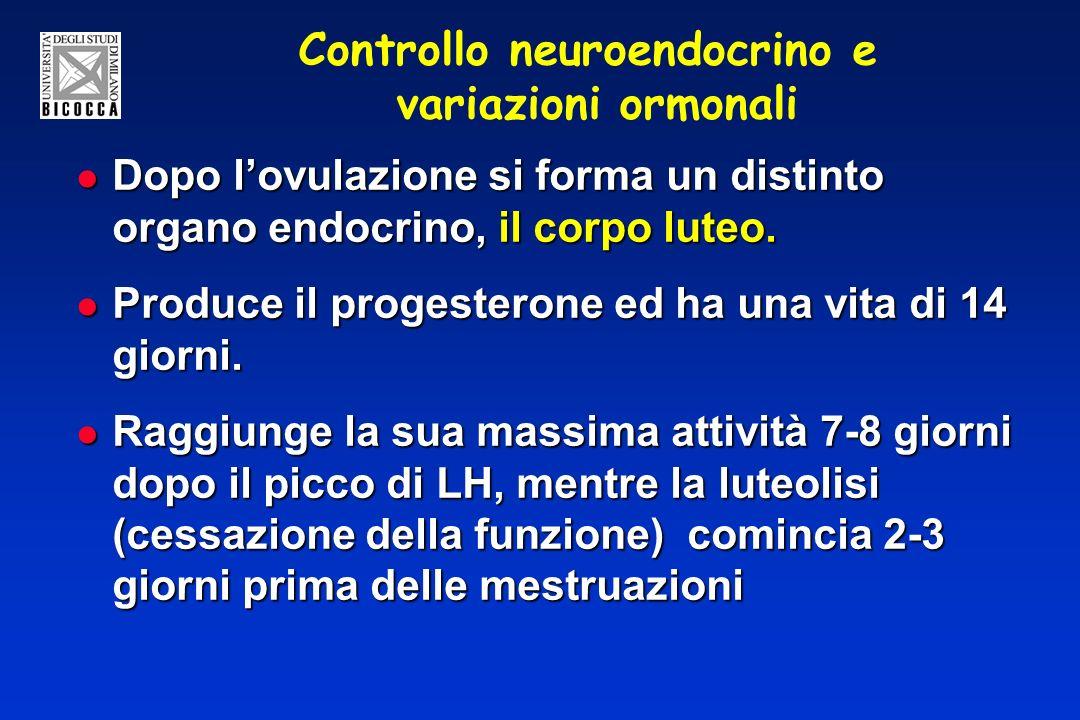Controllo neuroendocrino e variazioni ormonali Dopo lovulazione si forma un distinto organo endocrino, il corpo luteo. Dopo lovulazione si forma un di