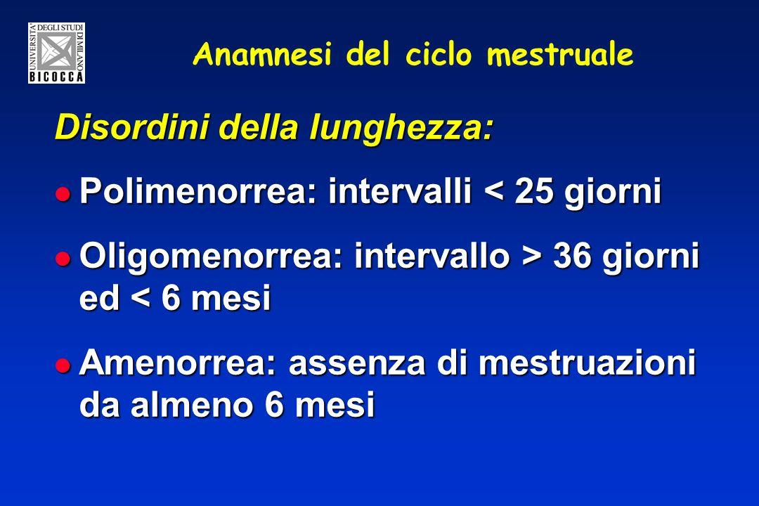 Anamnesi del ciclo mestruale Disordini della lunghezza: Polimenorrea: intervalli < 25 giorni Polimenorrea: intervalli < 25 giorni Oligomenorrea: intervallo > 36 giorni ed 36 giorni ed < 6 mesi Amenorrea: assenza di mestruazioni da almeno 6 mesi Amenorrea: assenza di mestruazioni da almeno 6 mesi