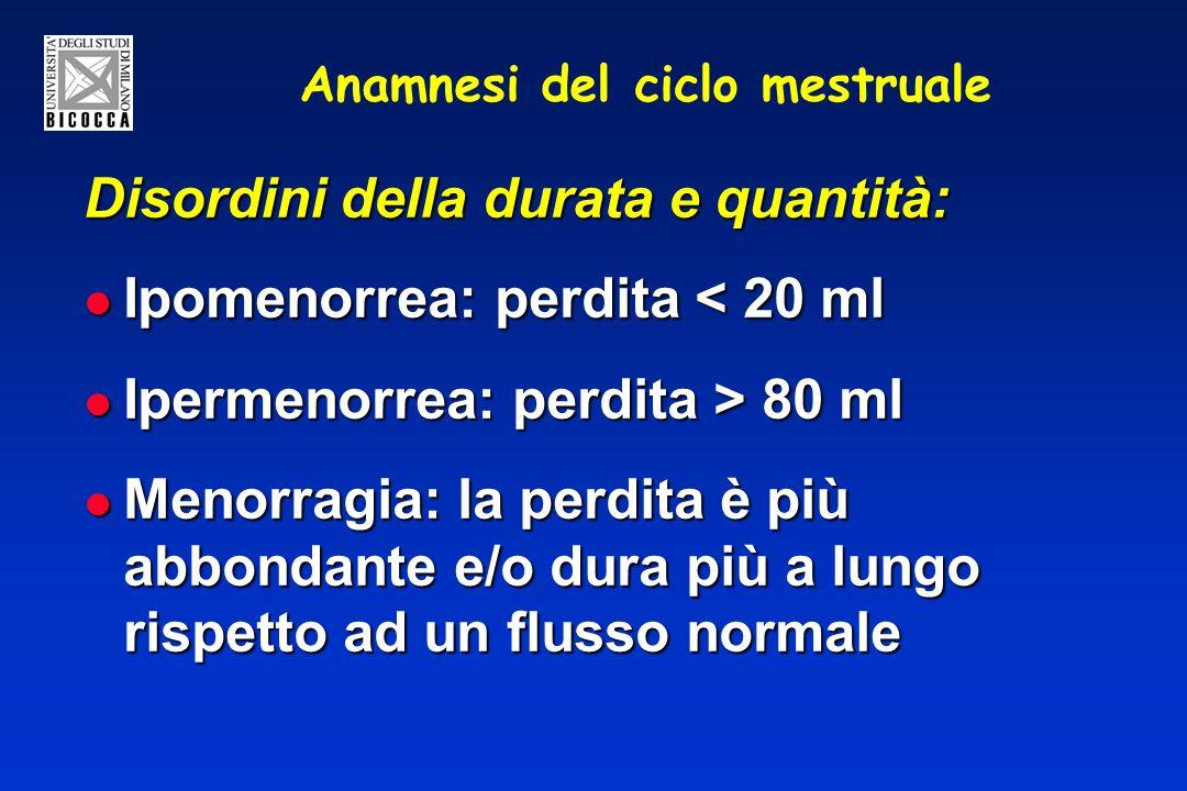 Anamnesi del ciclo mestruale Disordini della durata e quantità: Ipomenorrea: perdita < 20 ml Ipomenorrea: perdita < 20 ml Ipermenorrea: perdita > 80 m