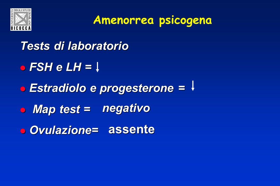Amenorrea psicogena Tests di laboratorio FSH e LH = FSH e LH = Estradiolo e progesterone = Estradiolo e progesterone = Map test = Map test = Ovulazione= Ovulazione= negativo assente