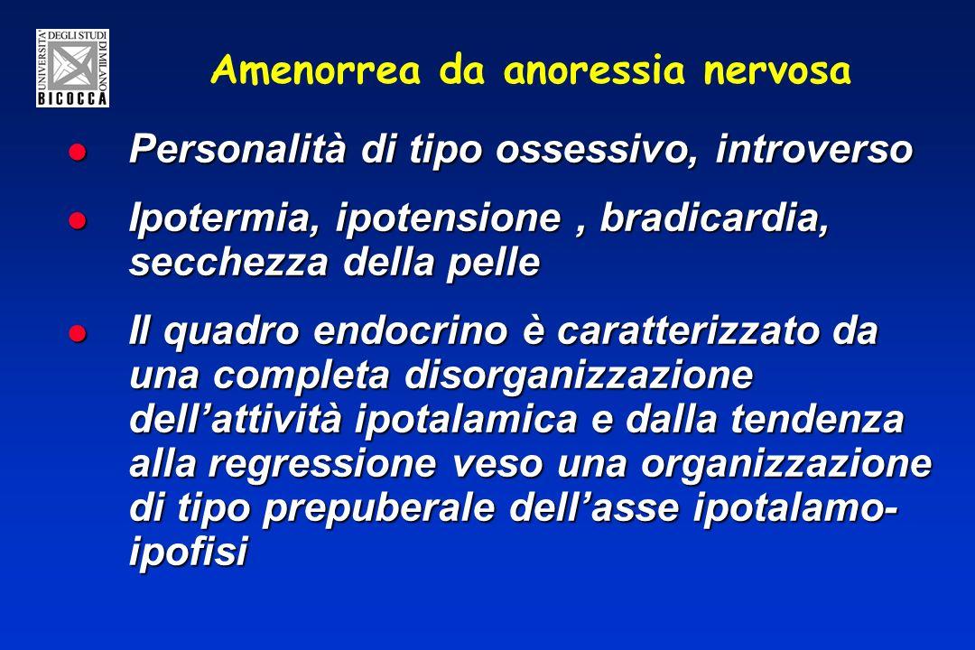 Amenorrea da anoressia nervosa Personalità di tipo ossessivo, introverso Personalità di tipo ossessivo, introverso Ipotermia, ipotensione, bradicardia, secchezza della pelle Ipotermia, ipotensione, bradicardia, secchezza della pelle Il quadro endocrino è caratterizzato da una completa disorganizzazione dellattività ipotalamica e dalla tendenza alla regressione veso una organizzazione di tipo prepuberale dellasse ipotalamo- ipofisi Il quadro endocrino è caratterizzato da una completa disorganizzazione dellattività ipotalamica e dalla tendenza alla regressione veso una organizzazione di tipo prepuberale dellasse ipotalamo- ipofisi