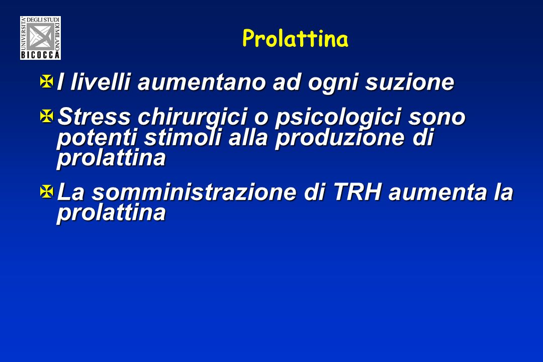 Prolattina XI livelli aumentano ad ogni suzione XStress chirurgici o psicologici sono potenti stimoli alla produzione di prolattina XLa somministrazione di TRH aumenta la prolattina