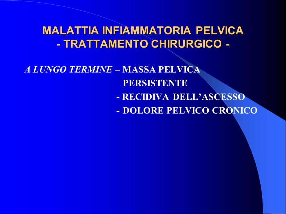 MALATTIA INFIAMMATORIA PELVICA - TRATTAMENTO CHIRURGICO - A LUNGO TERMINE – MASSA PELVICA PERSISTENTE - RECIDIVA DELLASCESSO -DOLORE PELVICO CRONICO
