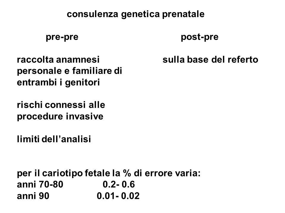 consulenza genetica prenatale pre-pre post-pre raccolta anamnesi sulla base del referto personale e familiare di entrambi i genitori rischi connessi a