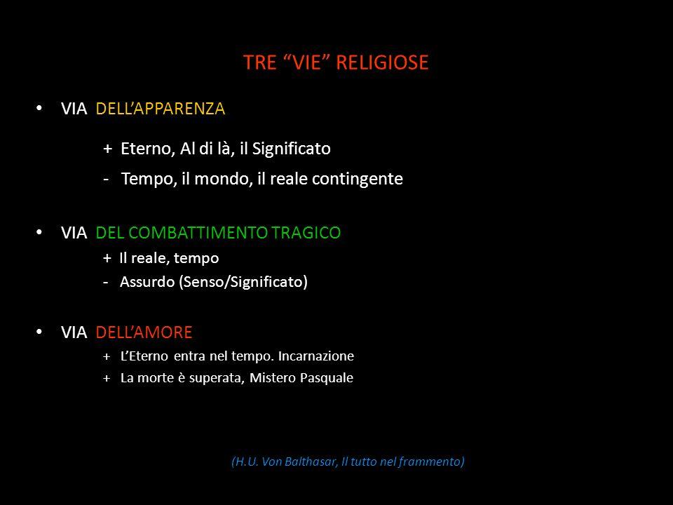 TRE VIE RELIGIOSE VIA DELLAPPARENZA + Eterno, Al di là, il Significato - Tempo, il mondo, il reale contingente VIA DEL COMBATTIMENTO TRAGICO + Il reale, tempo - Assurdo (Senso/Significato) VIA DELLAMORE + LEterno entra nel tempo.