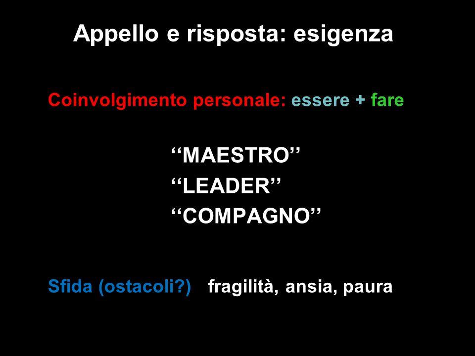 Appello e risposta: esigenza Coinvolgimento personale: essere + fare MAESTRO LEADER COMPAGNO Sfida (ostacoli?) : fragilità, ansia, paura