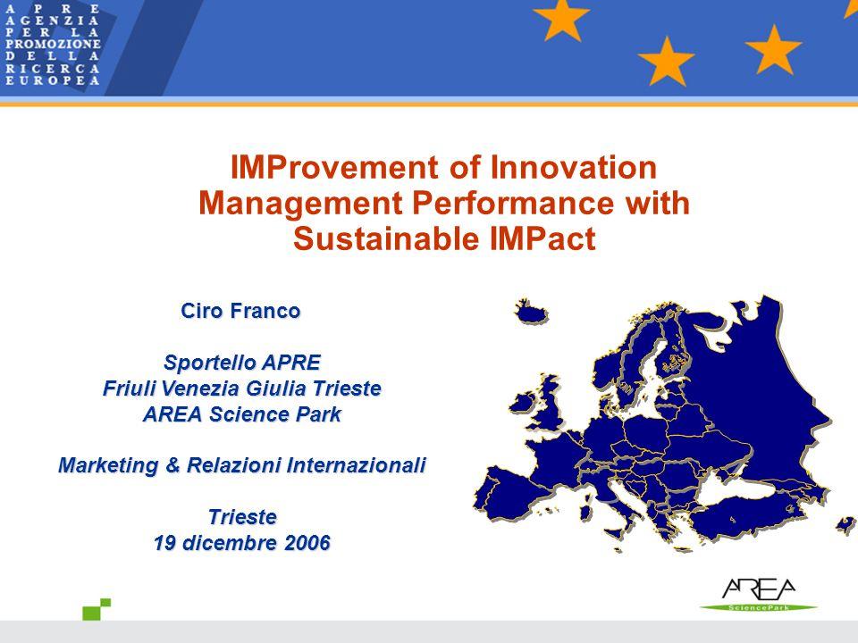 Ciro Franco Sportello APRE Friuli Venezia Giulia Trieste AREA Science Park Marketing & Relazioni Internazionali Trieste 19 dicembre 2006 IMProvement o