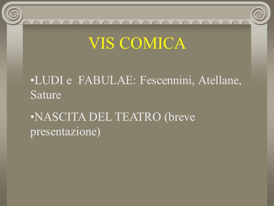 VIS COMICA LUDI e FABULAE: Fescennini, Atellane, Sature NASCITA DEL TEATRO (breve presentazione)