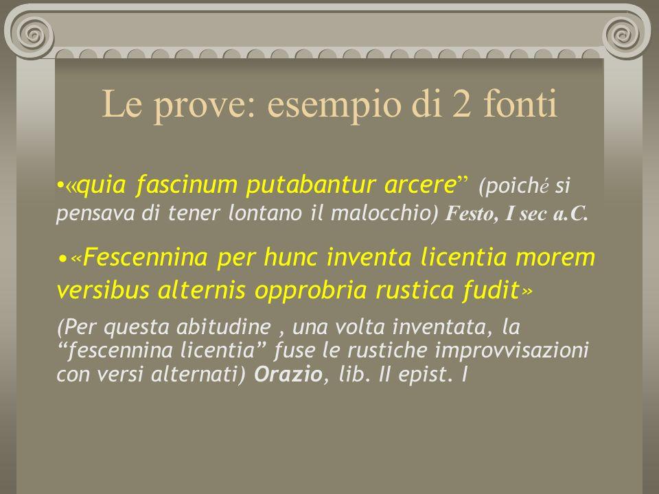 Le prove: esempio di 2 fonti « quia fascinum putabantur arcere (poich é si pensava di tener lontano il malocchio) Festo, I sec a.C. «Fescennina per hu