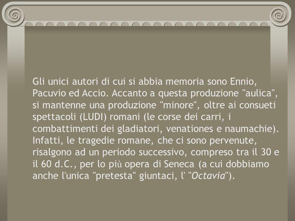 Gli unici autori di cui si abbia memoria sono Ennio, Pacuvio ed Accio. Accanto a questa produzione