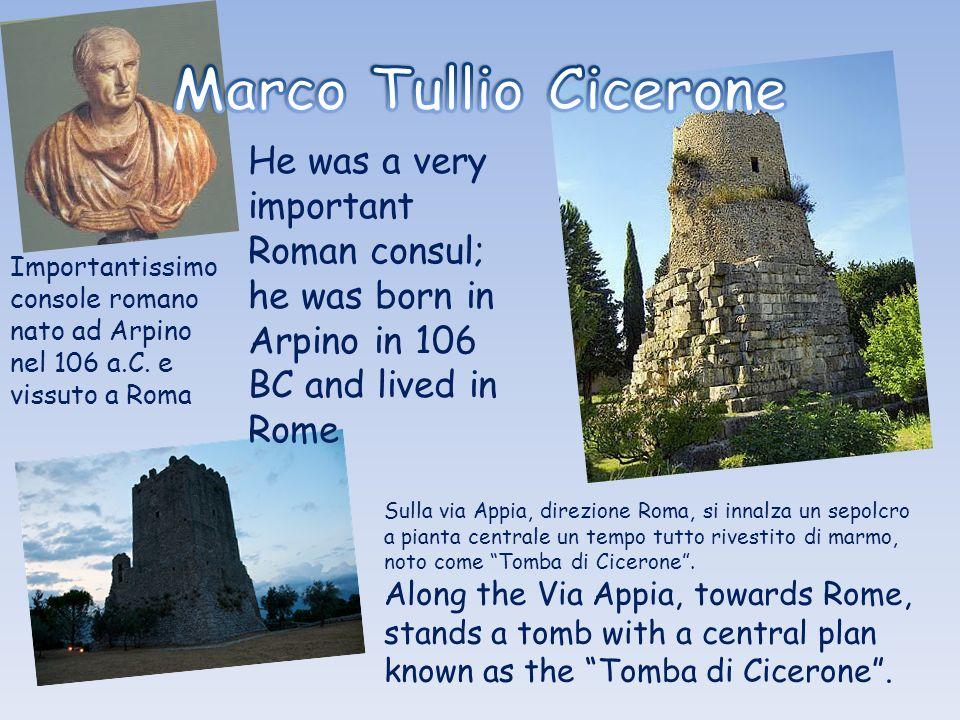 Sulla via Appia, direzione Roma, si innalza un sepolcro a pianta centrale un tempo tutto rivestito di marmo, noto come Tomba di Cicerone.