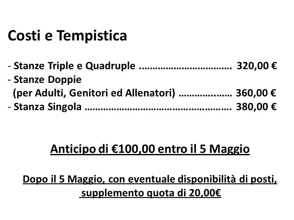 Costi e Tempistica - Stanze Triple e Quadruple.……………………………. 320,00 - Stanze Doppie (per Adulti, Genitori ed Allenatori) …………..…… 360,00 - Stanza Singo