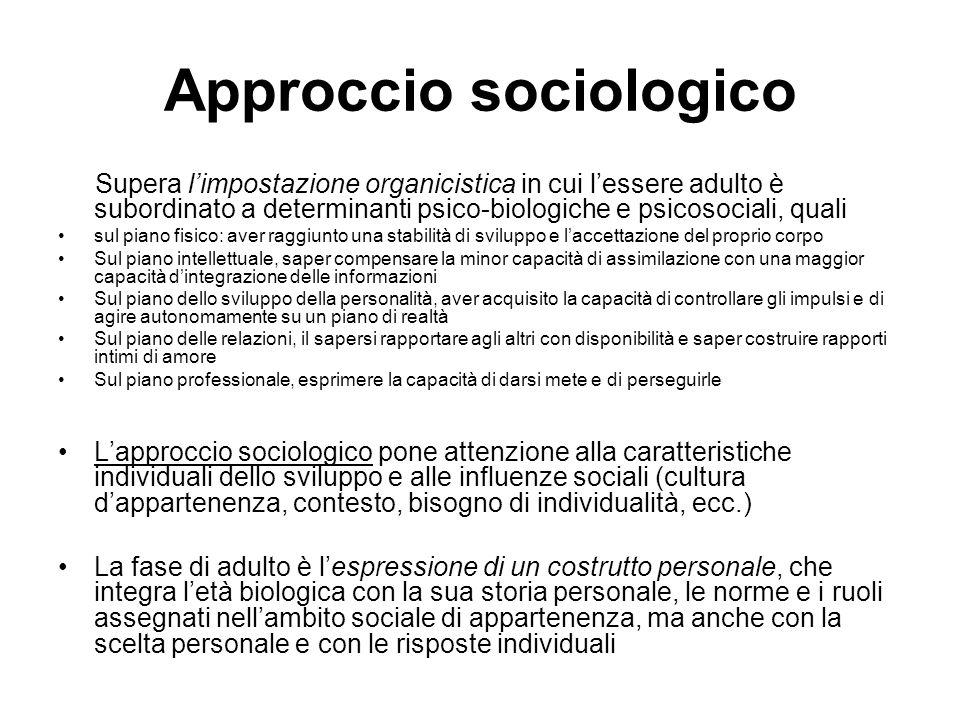 Approccio psicodinamico Freud: direttamente non si è mai occupato della vita adulta Attraverso la Teoria dello sviluppo, essere adulto vuol dire aver raggiunto la fase genitale ed essere in grado di direzionare le pulsioni da una dimensione istintiva ad una dimensione di integrazione sociale.