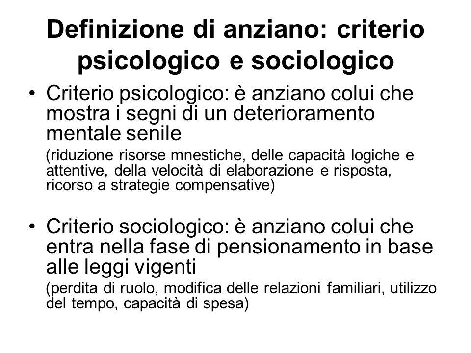 Definizione bio psico sociale Necessità di considerare il fitto intreccio tra aspetti fisiologici, psichici e sociologici Necessità di distinguere tra invecchiamento e patologia.