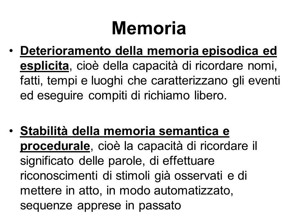 Memoria episodica E preposta alla conservazione e recupero di eventi storicamente avvenuti e delle loro caratteristiche temporali.