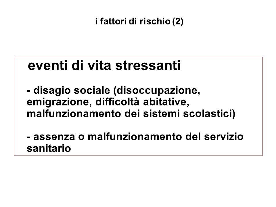 eventi di vita stressanti - disagio sociale (disoccupazione, emigrazione, difficoltà abitative, malfunzionamento dei sistemi scolastici) - assenza o m