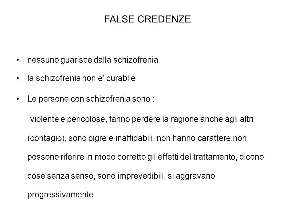 FALSE CREDENZE nessuno guarisce dalla schizofrenia la schizofrenia non e curabile Le persone con schizofrenia sono : violente e pericolose, fanno perd