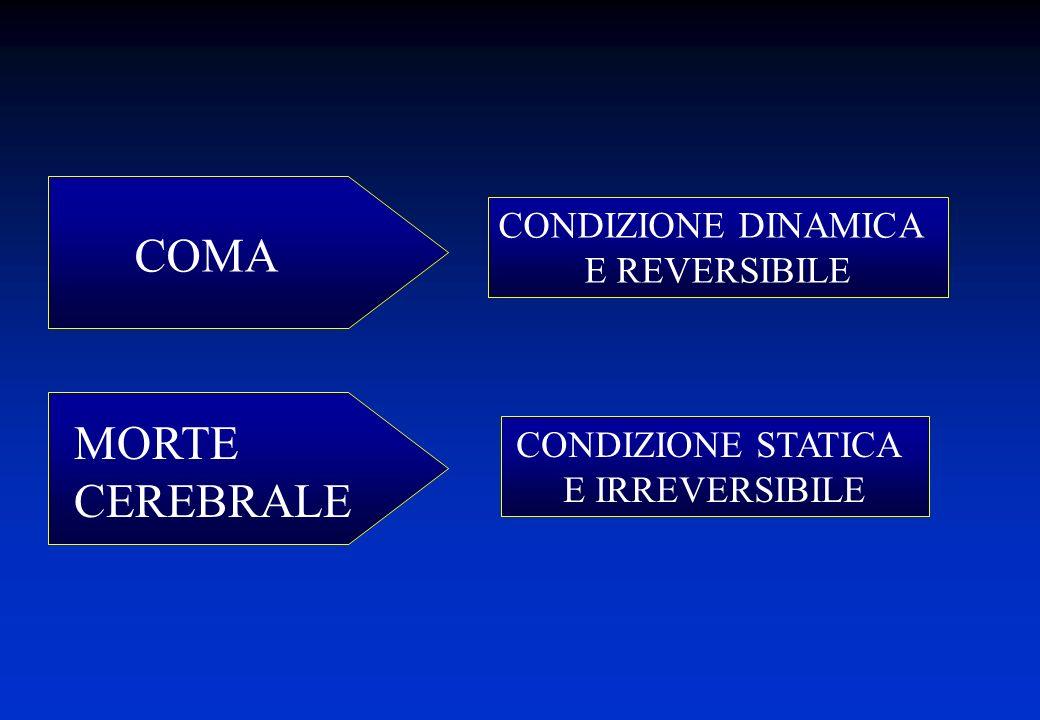 CONDIZIONE DINAMICA E REVERSIBILE CONDIZIONE STATICA E IRREVERSIBILE MORTE CEREBRALE COMA