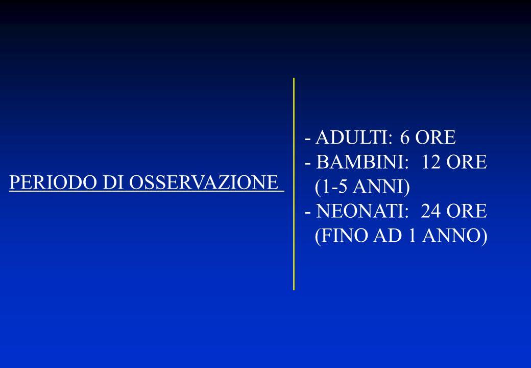 PERIODO DI OSSERVAZIONE - ADULTI: 6 ORE - BAMBINI: 12 ORE (1-5 ANNI) - NEONATI: 24 ORE (FINO AD 1 ANNO)