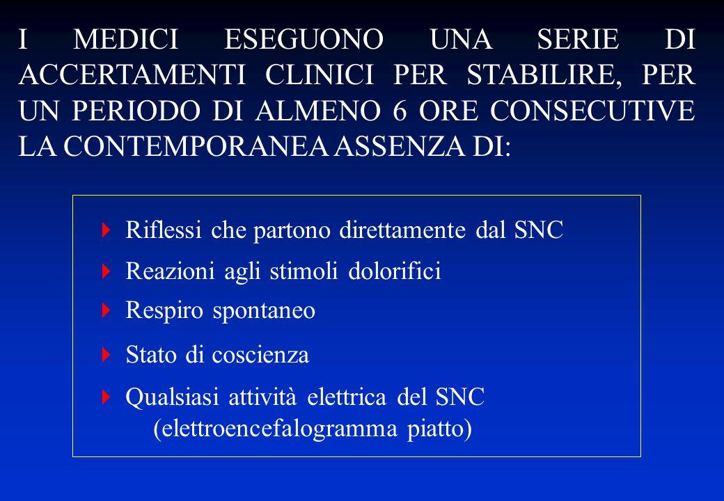Qualsiasi attività elettrica del SNC (elettroencefalogramma piatto) I MEDICI ESEGUONO UNA SERIE DI ACCERTAMENTI CLINICI PER STABILIRE, PER UN PERIODO