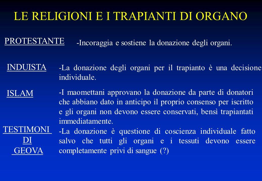 LE RELIGIONI E I TRAPIANTI DI ORGANO -La donazione degli organi per il trapianto è una decisione individuale. -I maomettani approvano la donazione da