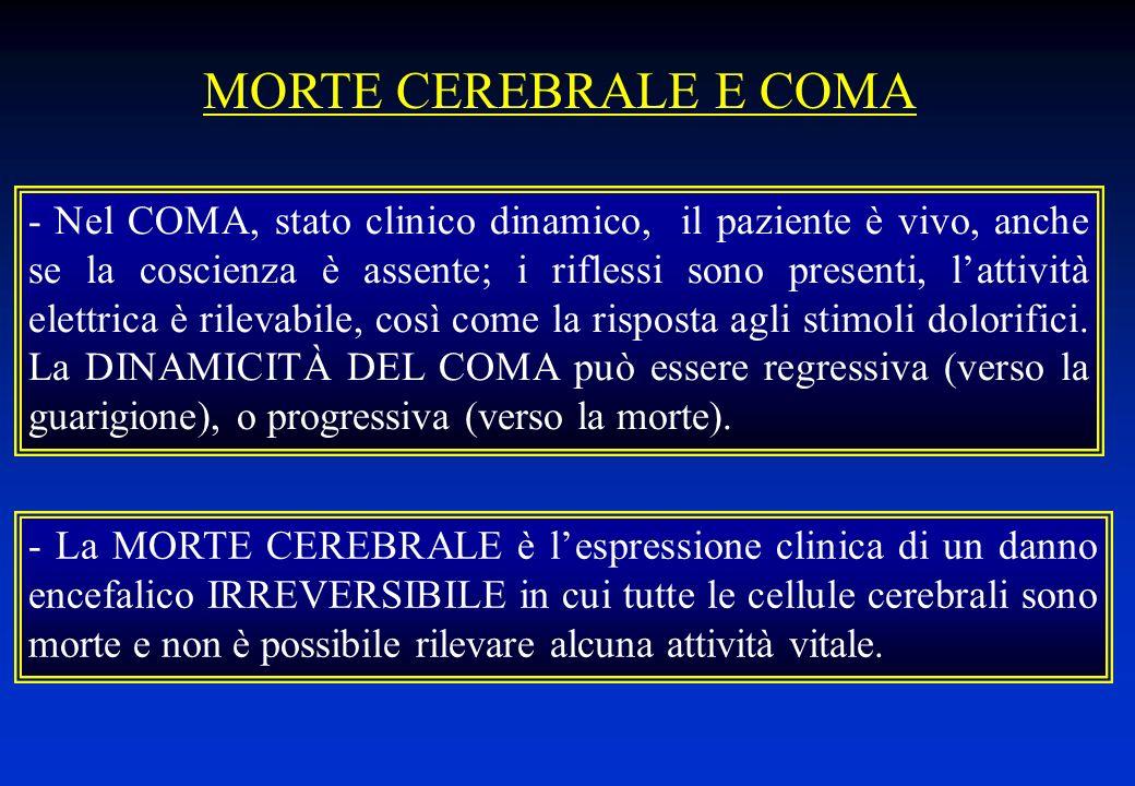 - La MORTE CEREBRALE è lespressione clinica di un danno encefalico IRREVERSIBILE in cui tutte le cellule cerebrali sono morte e non è possibile rileva