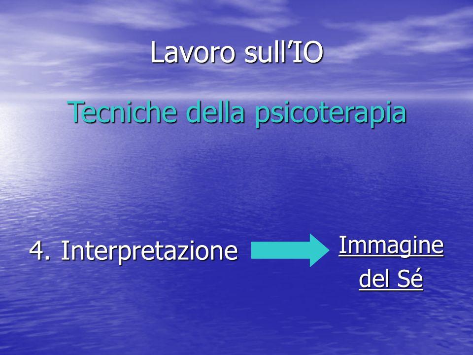 Lavoro sullIO 4.Interpretazione Tecniche della psicoterapia Immagine del Sé