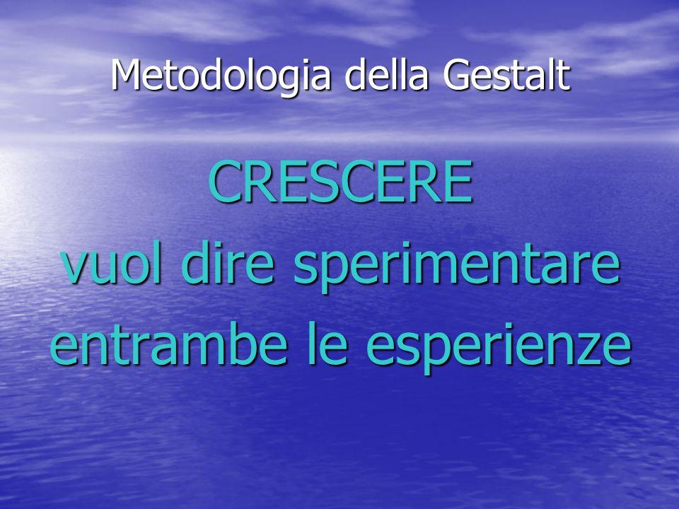 Metodologia della Gestalt CRESCERE vuol dire sperimentare entrambe le esperienze