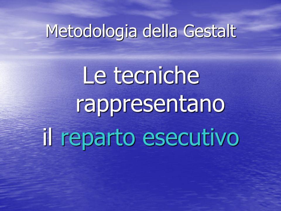 Metodologia della Gestalt Le tecniche rappresentano il reparto esecutivo