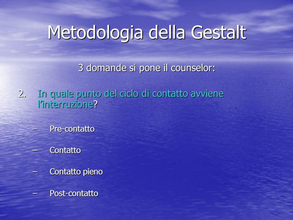 Metodologia della Gestalt 3 domande si pone il counselor: 2.In quale punto del ciclo di contatto avviene linterruzione? –Pre-contatto –Contatto –Conta