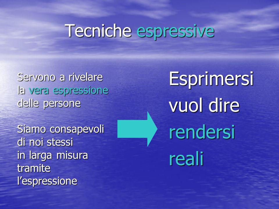 Tecniche espressive Servono a rivelare la vera espressione delle persone Siamo consapevoli di noi stessi in larga misura tramitelespressione Esprimers