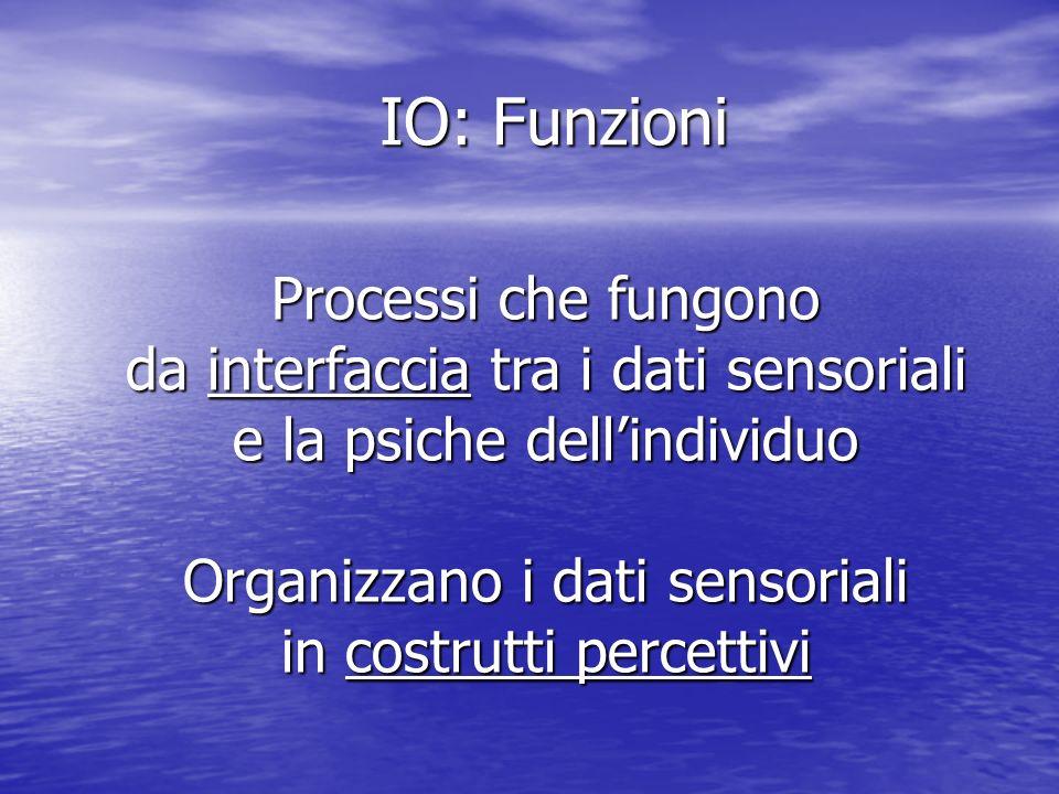 IO: Funzioni Processi che fungono da interfaccia tra i dati sensoriali e la psiche dellindividuo Organizzano i dati sensoriali in costrutti percettivi