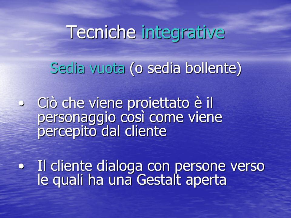 Tecniche integrative Sedia vuota (o sedia bollente) Ciò che viene proiettato è il personaggio così come viene percepito dal clienteCiò che viene proie