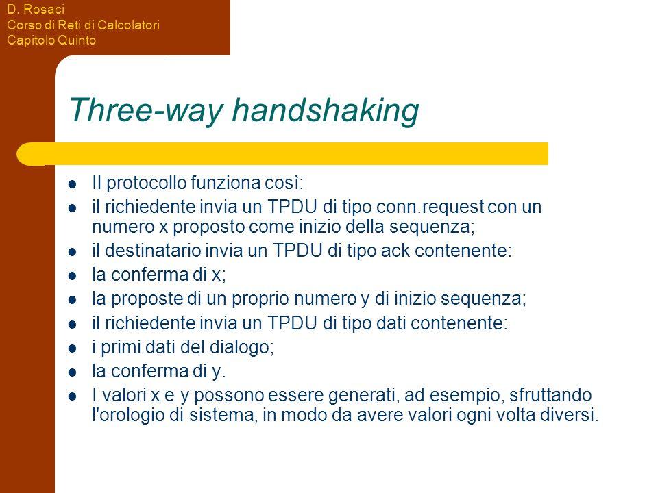 D. Rosaci Corso di Reti di Calcolatori Capitolo Quinto Three-way handshaking Il protocollo funziona così: il richiedente invia un TPDU di tipo conn.re