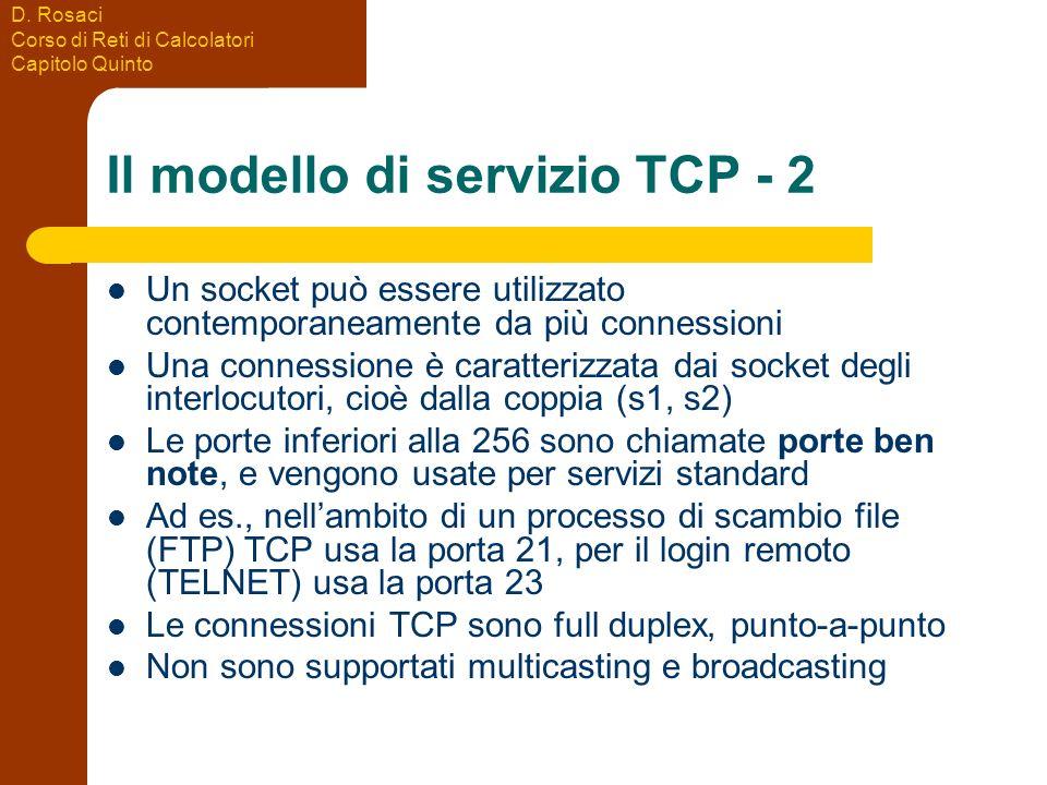 D. Rosaci Corso di Reti di Calcolatori Capitolo Quinto Il modello di servizio TCP - 2 Un socket può essere utilizzato contemporaneamente da più connes