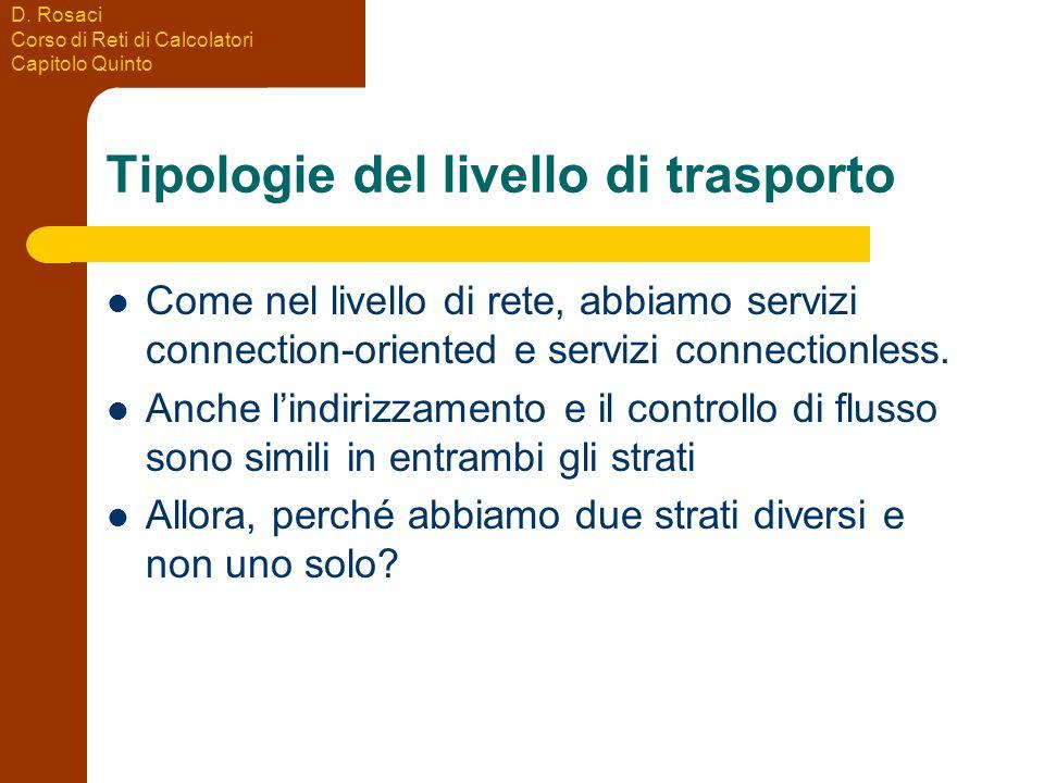 D. Rosaci Corso di Reti di Calcolatori Capitolo Quinto Tipologie del livello di trasporto Come nel livello di rete, abbiamo servizi connection-oriente