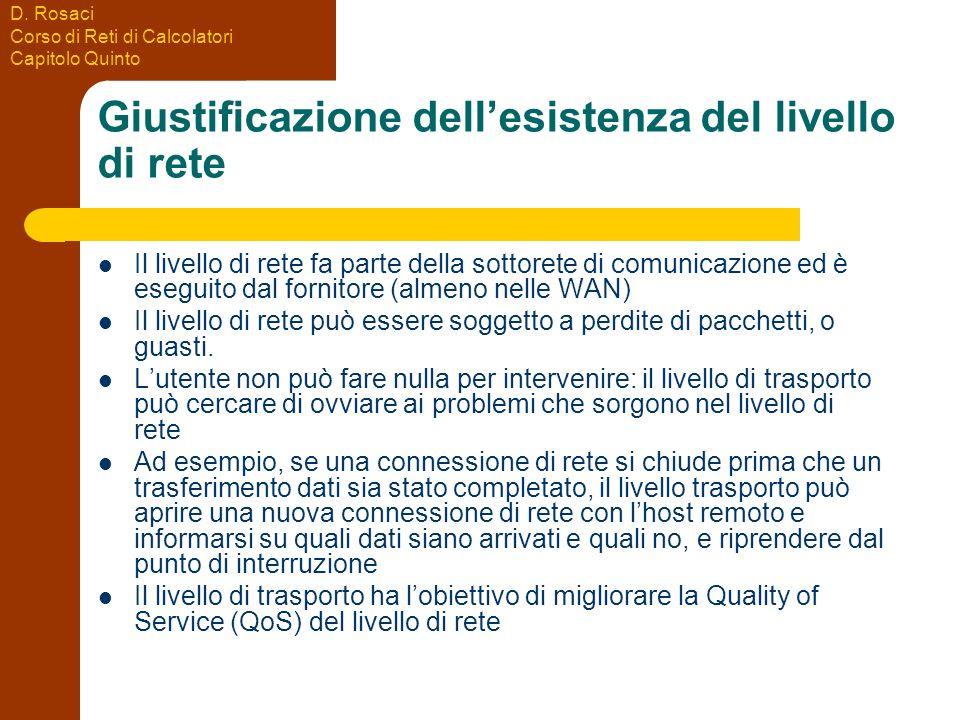 D. Rosaci Corso di Reti di Calcolatori Capitolo Quinto Giustificazione dellesistenza del livello di rete Il livello di rete fa parte della sottorete d