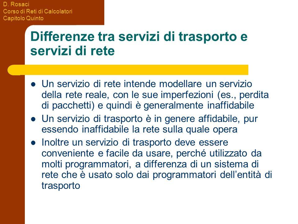 D. Rosaci Corso di Reti di Calcolatori Capitolo Quinto Differenze tra servizi di trasporto e servizi di rete Un servizio di rete intende modellare un