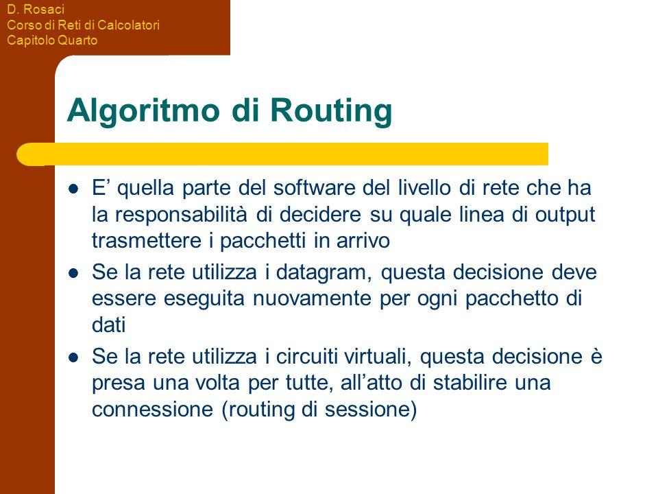 D. Rosaci Corso di Reti di Calcolatori Capitolo Quarto Algoritmo di Routing E quella parte del software del livello di rete che ha la responsabilità d