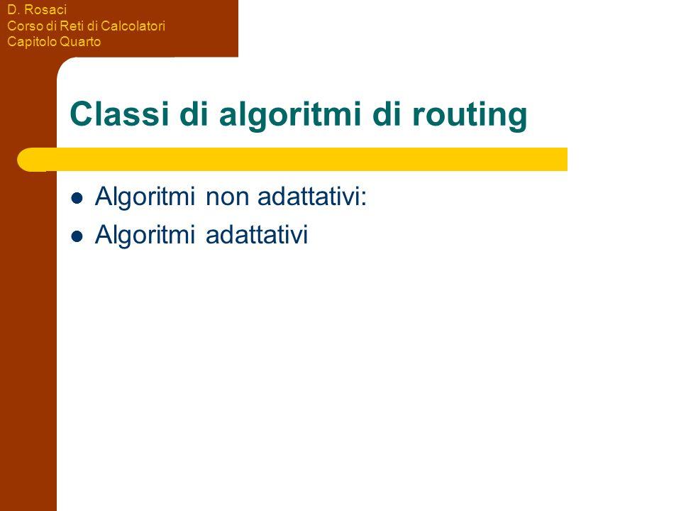 D. Rosaci Corso di Reti di Calcolatori Capitolo Quarto Classi di algoritmi di routing Algoritmi non adattativi: Algoritmi adattativi