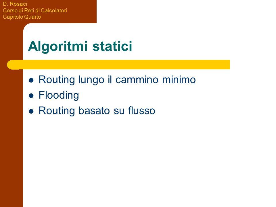 D. Rosaci Corso di Reti di Calcolatori Capitolo Quarto Algoritmi statici Routing lungo il cammino minimo Flooding Routing basato su flusso