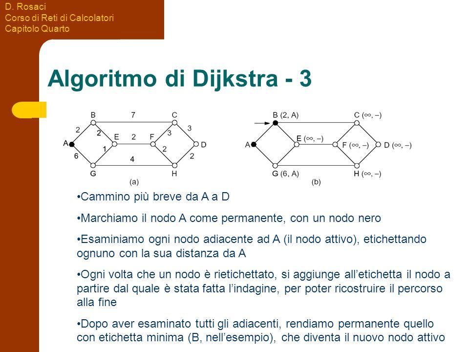 D. Rosaci Corso di Reti di Calcolatori Capitolo Quarto Algoritmo di Dijkstra - 3 Cammino più breve da A a D Marchiamo il nodo A come permanente, con u