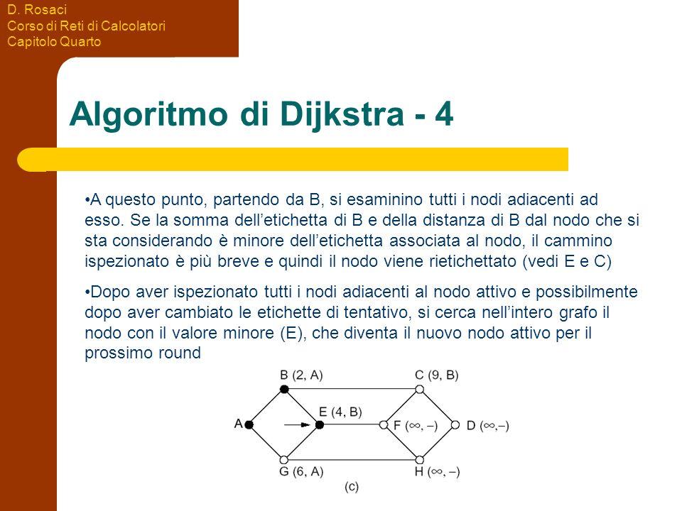 D. Rosaci Corso di Reti di Calcolatori Capitolo Quarto Algoritmo di Dijkstra - 4 A questo punto, partendo da B, si esaminino tutti i nodi adiacenti ad